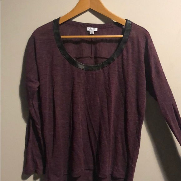 Splendid Tops - Splendid Burgundy Tee with Leather